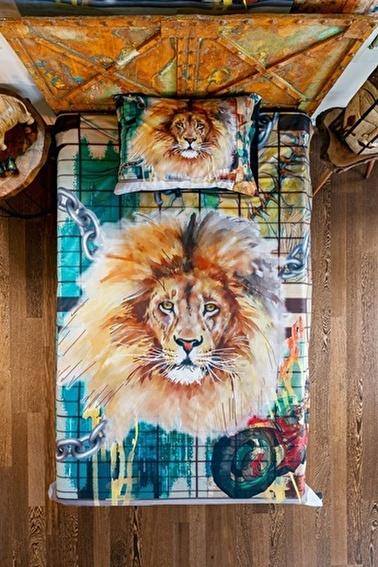 home-bath Tek Kişilik Nevresim Seti Strong Lion Renkli